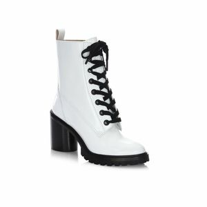 Marc Jacobs Ryder Lace Up Leather Booties in White